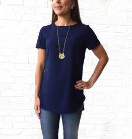 Adrienne Navy-Short Sleeve Bubble Blouse