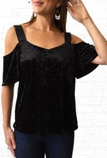 Blk Velvet Cold Shldr Top