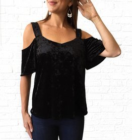 Sanctuary Blk Velvet Cold Shldr Top