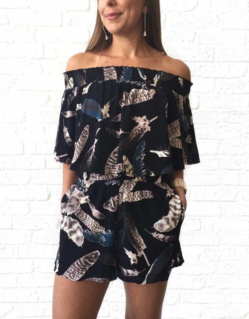 Blk Feather Romper