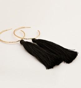 Leucadia Tassel Hoops-Black