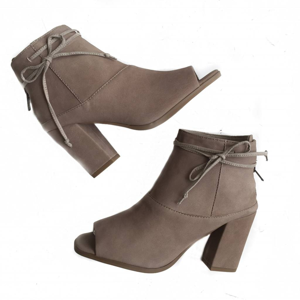 Leather Ankle Tie Taupe Bootie