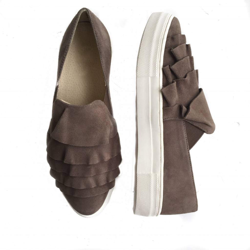 Ruffle Taupe Suede Slip On
