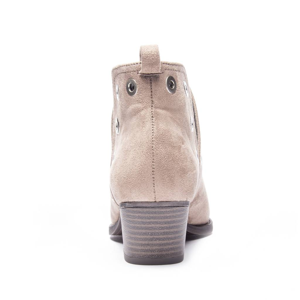 Taupe Suede Bootie w/ Grommets