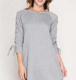 Grey 3/4 Lace-up Slv Dress