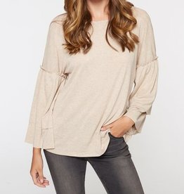 Sanctuary Ruffle Slv Heathered Tan Top