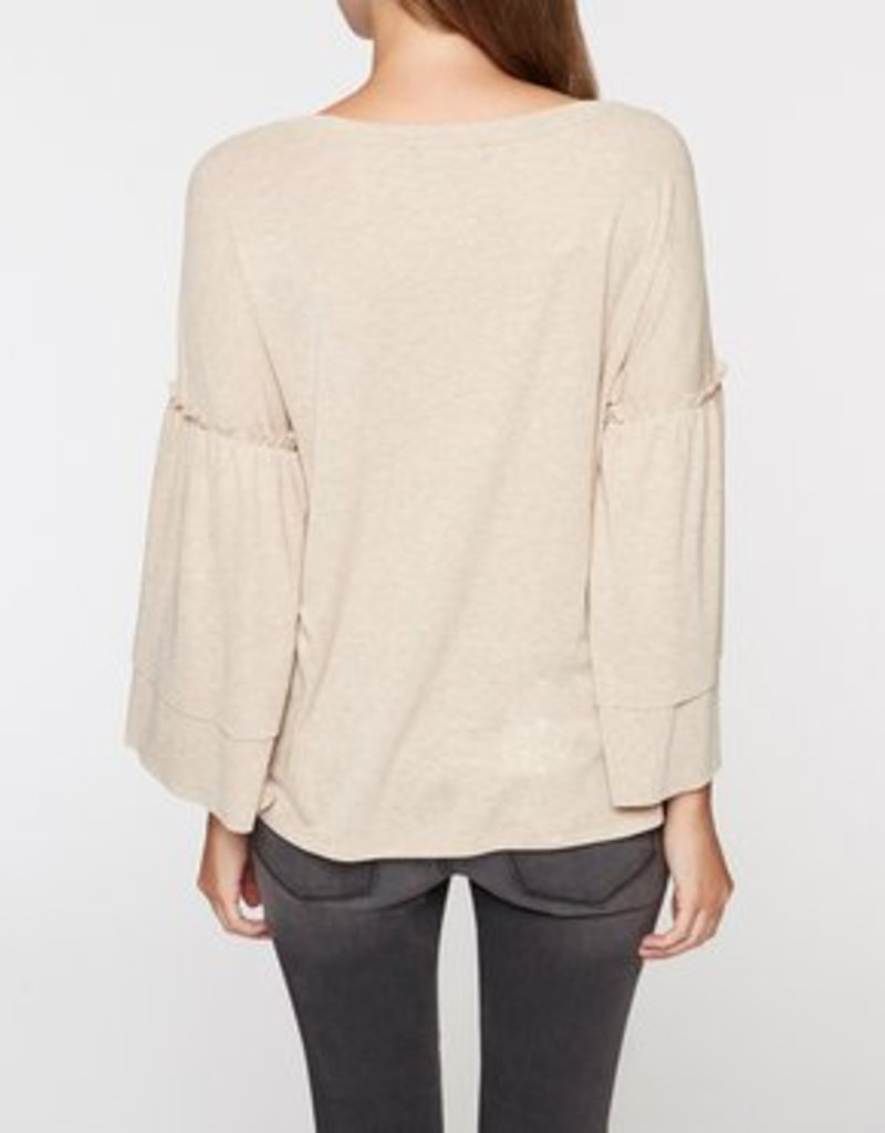 Ruffle Slv Heathered Tan Top