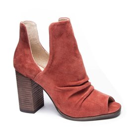 Chinese Laundry Rust Peep Toe Side Slit Bootie