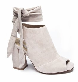 Grey Peep Toe Block Heel w/ Tie