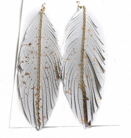 White Gold Confetti Feather Earrings