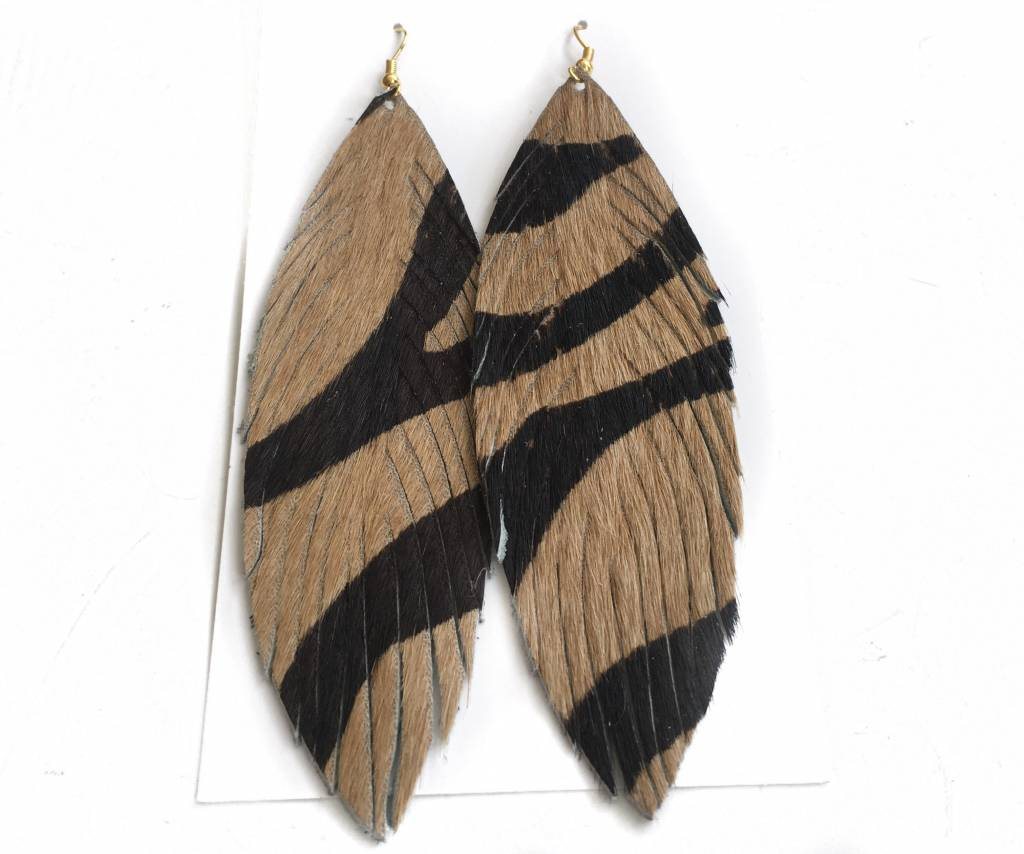 Tiger Feather Earrings