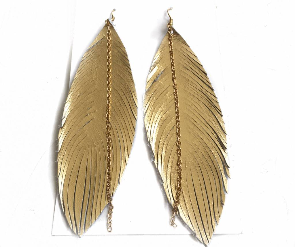 Metallic Gold Leather Feather Earrings