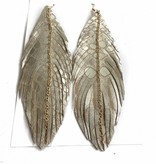 Silver/Taupe Snake Leather Feather Earrings