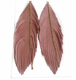 Pink Rose Leather Feather Earrings