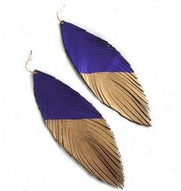 Purple /Gold Diagonal Feather Earrings