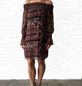 Veronica M Autumn Print Smocked Neck Dress