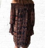 Autumn Print Smocked Neck Dress