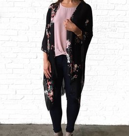 Gentle Fawn Black Orange Floral Kimono