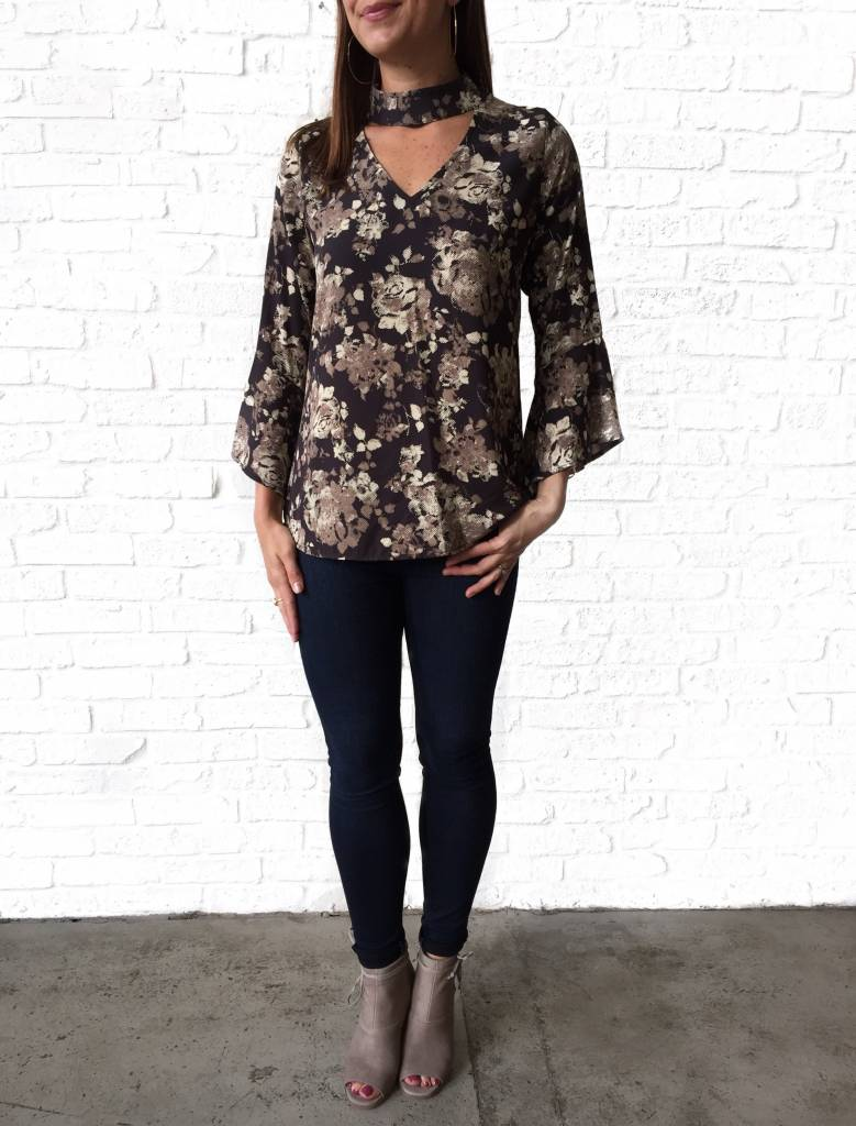 Brown/Tan Floral 3/4 Slv Flutter Top