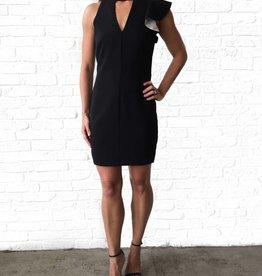 One Shoulder Ruffle Slv Dress Black