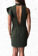 One Shoulder Ruffle Slv Dress Olive