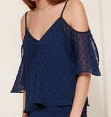 Navy Sheer Textured Cold Shldr Top