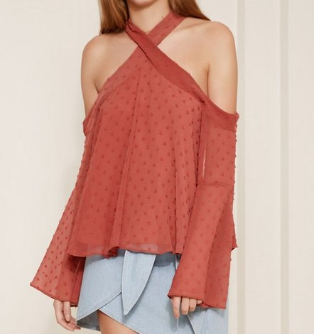 Brick Sheer Textured L/S Cold Shldr Top