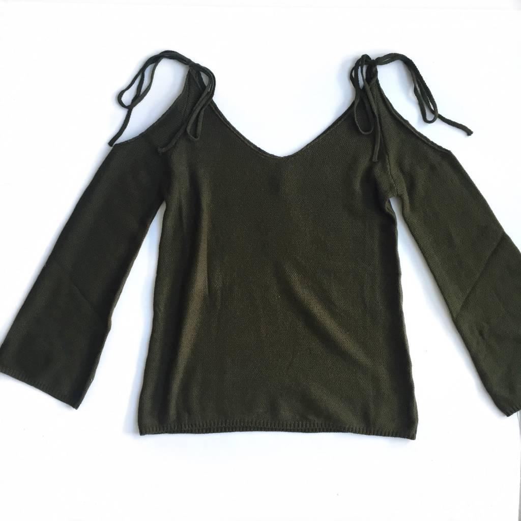 Tie Cold Shldr Olive Sweater