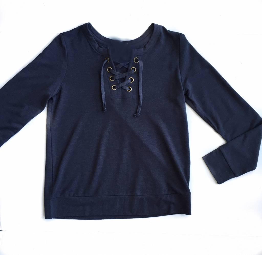 Charcoal Laceup Sweatshirt