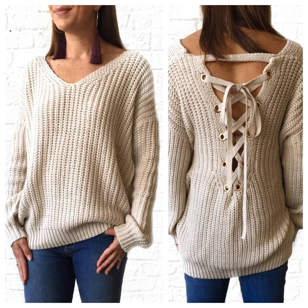 Oatmeal Lace-up Sweater