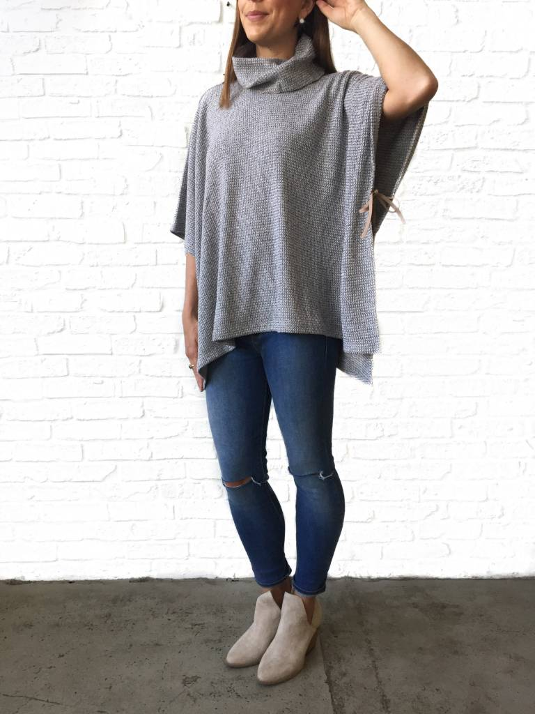 Grey Turtleneck Poncho