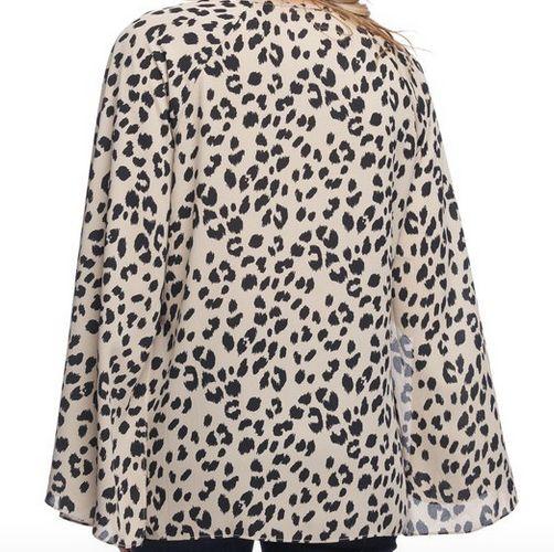 L/S Cheetah Split Seam Top