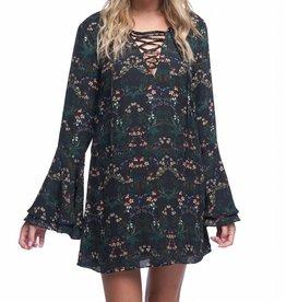 Black Floral L/S Tunic Dress