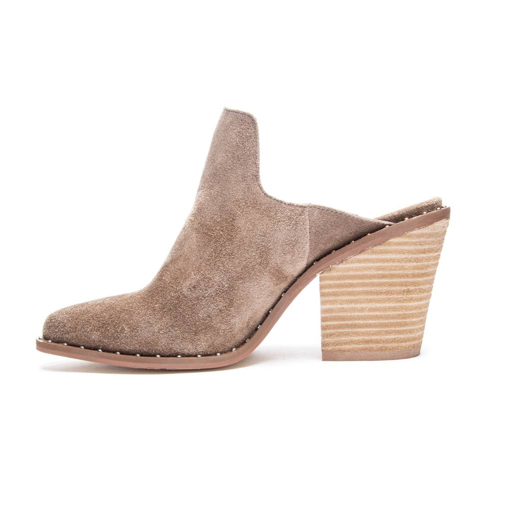 Mink Suede Studded Mules