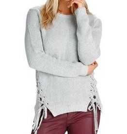 Grey Swtr w/ Lace-up Sides