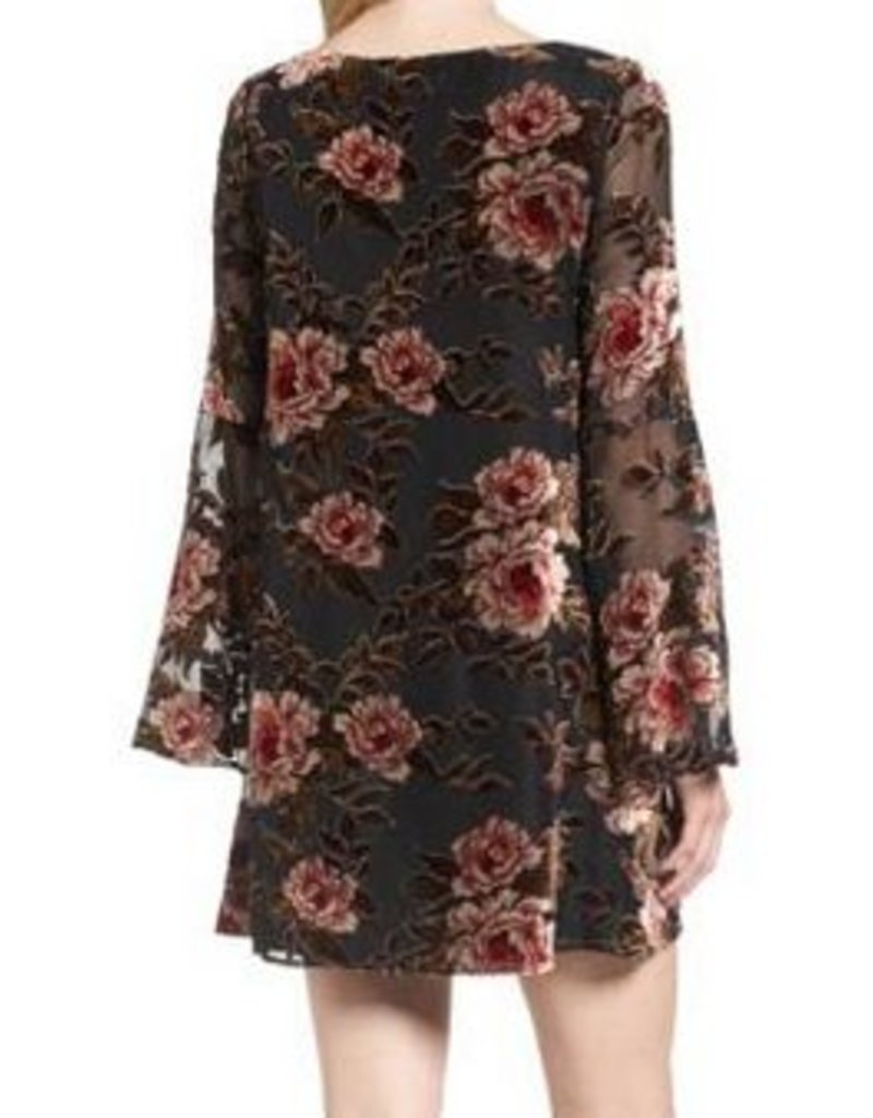 Floral Velvet Burnout Dress