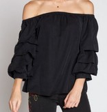 Black Ruffle Bell Sleeve Off Shldr Top