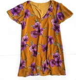 LSU Floral Flutter Sleeve Tunic