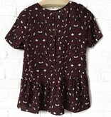 Wine Leopard S/S Ruffle Top