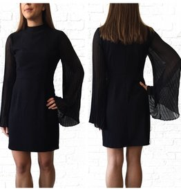 Black Pleated Sleeve Dress