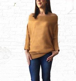 Gold 3/4 Slv Boatneck Sweater Tunic