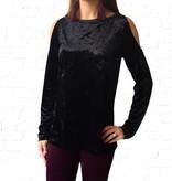 Blk Crushed Velvet Bare Shoulder Sweater
