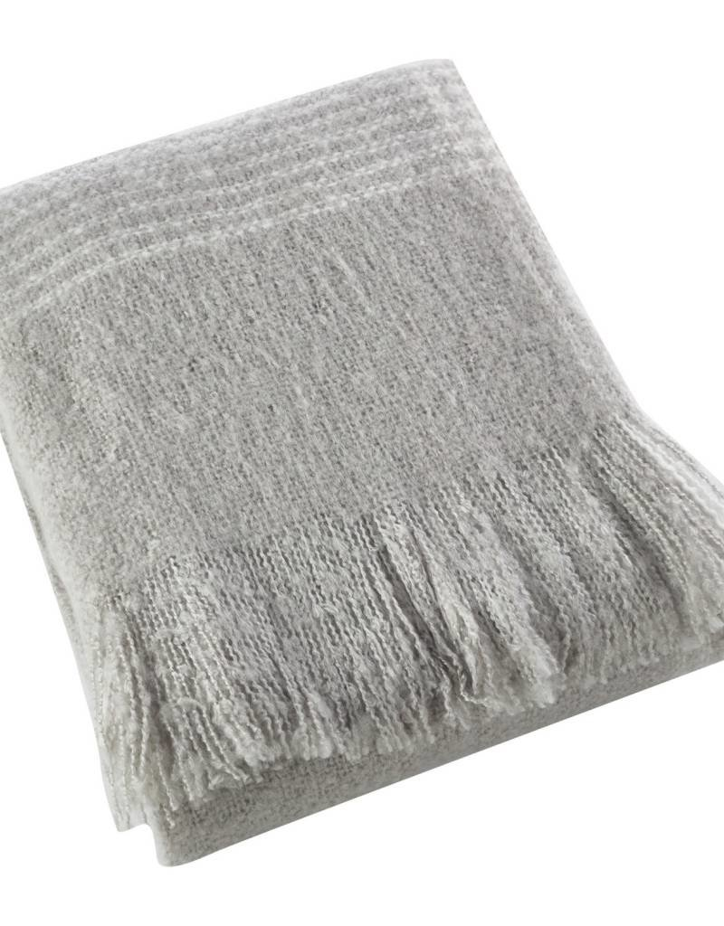 Faux Mohair Throw-Grey