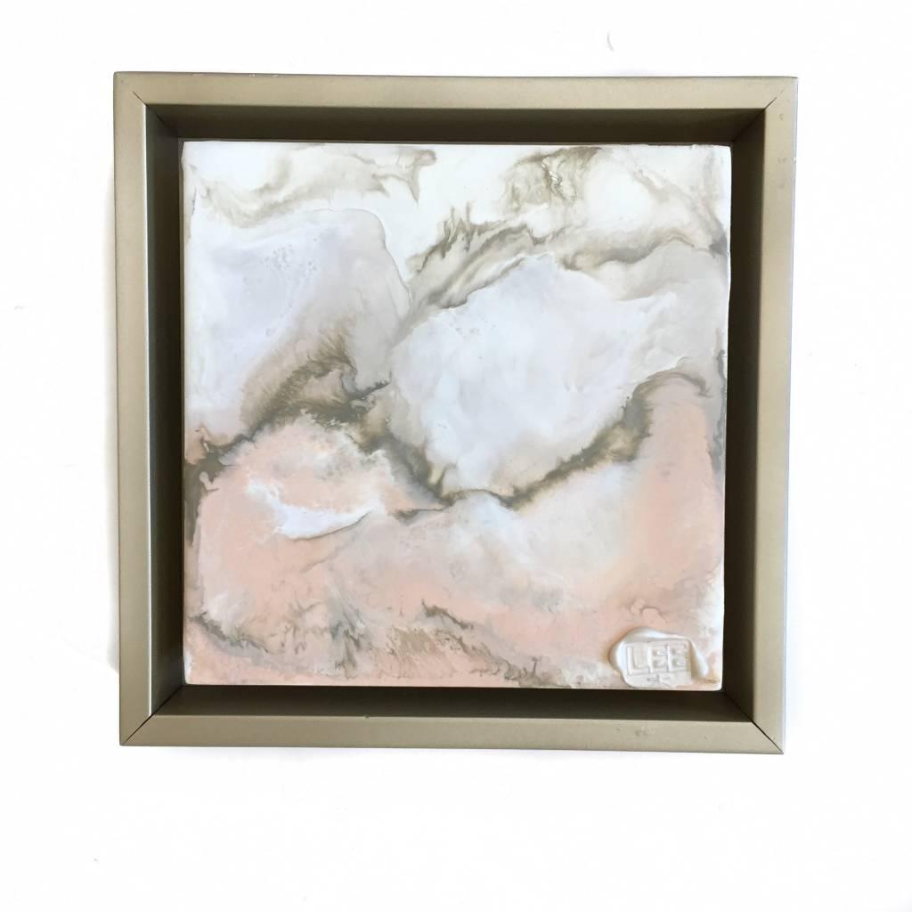 6x6 Encaustic Framed Art-Blush