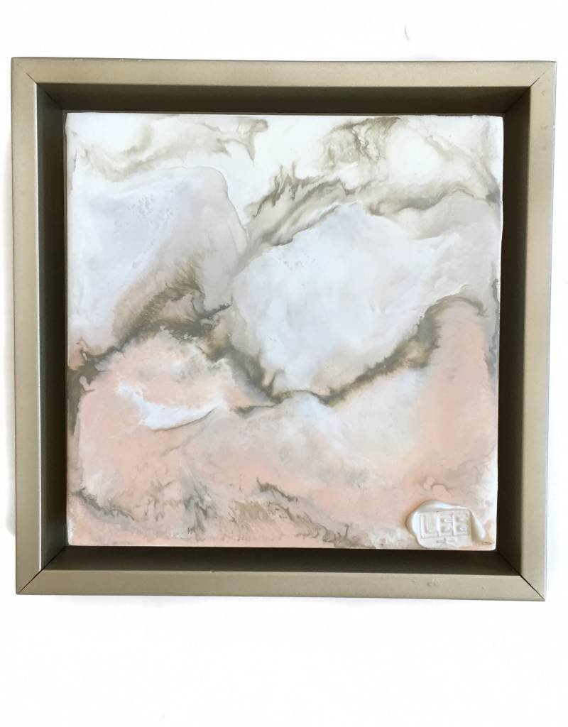 6x6 Encaustic Framed Art-Blush