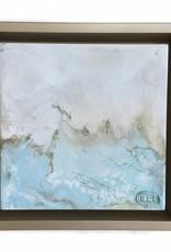 6x6 Encaustic Framed Art-Blues