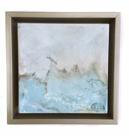 6x6 Encaustic Framed Art-Blues