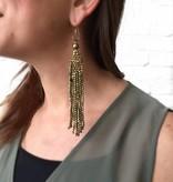 Long Beaded Gold Fringe Earring