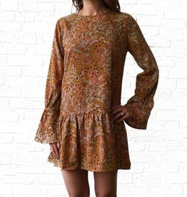 Mustard Poppy Bell Sleeve Dress