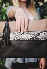 Hand Strap Python Clutch